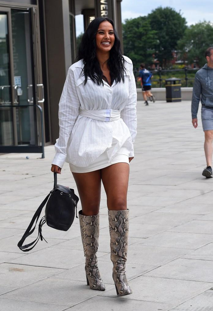 Maya Jama has seen leaving Tv Studios in London wearing funky snake-print boots