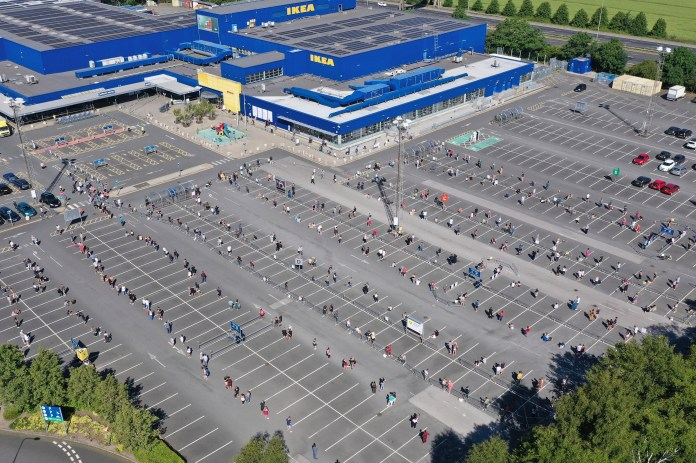 Huge queues seen from the sky outside a Warrington Ikea Monday