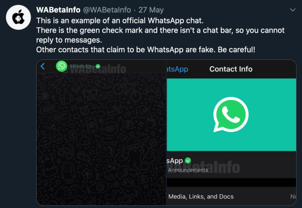 WABetaInfo shared an example of an official WhatsApp message, which is flagged by a green checkmark