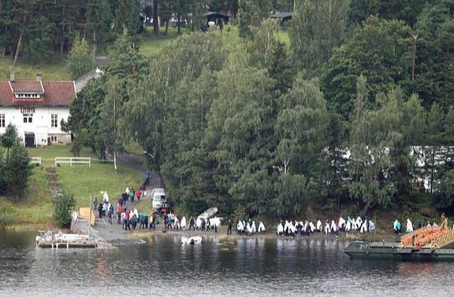 Relatives of victims killed during the shooting later gathered on the island