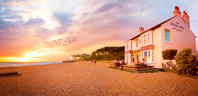 Zetland Arms is one of the few buildings on the stretch of beach in Kent