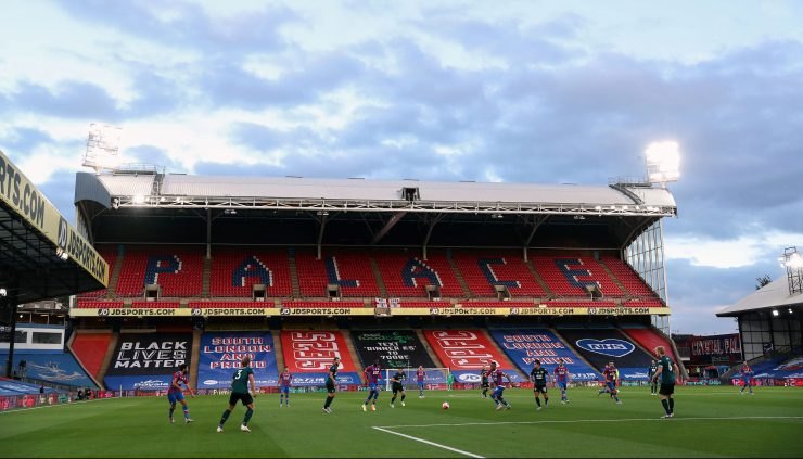 The BLM banner has been on display at Selhurst Park during Premier League games