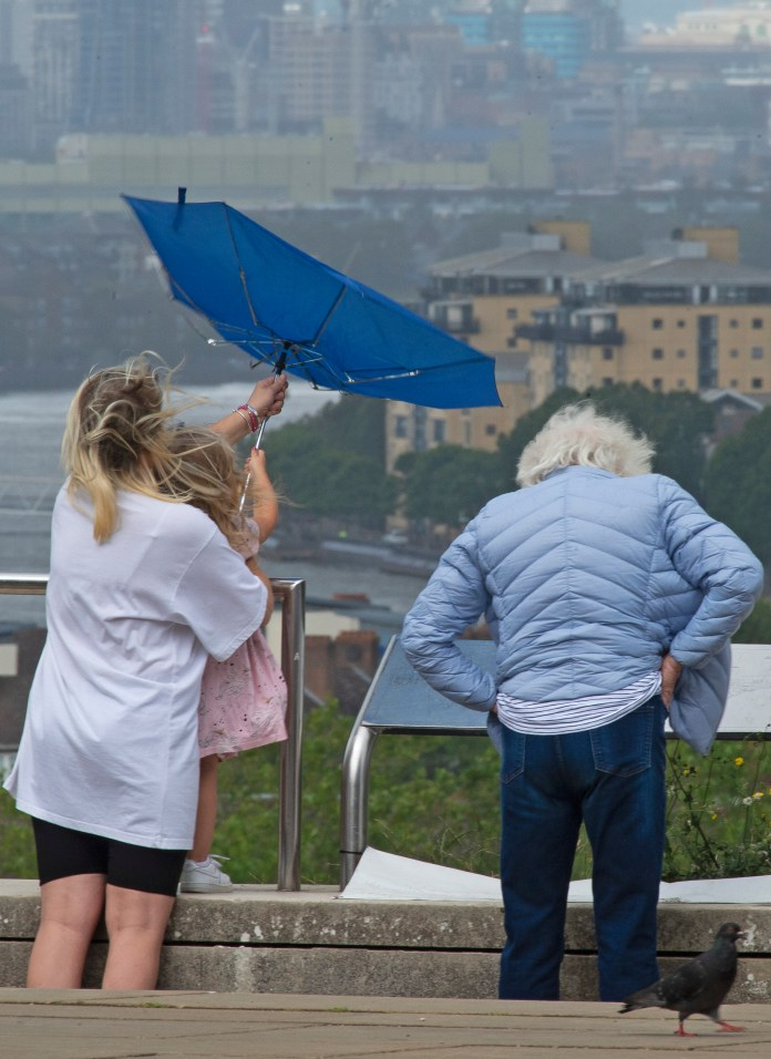 A mother and child cling to an umbrella in Greenwich Park, London, as strong winds continue to beat the United Kingdom