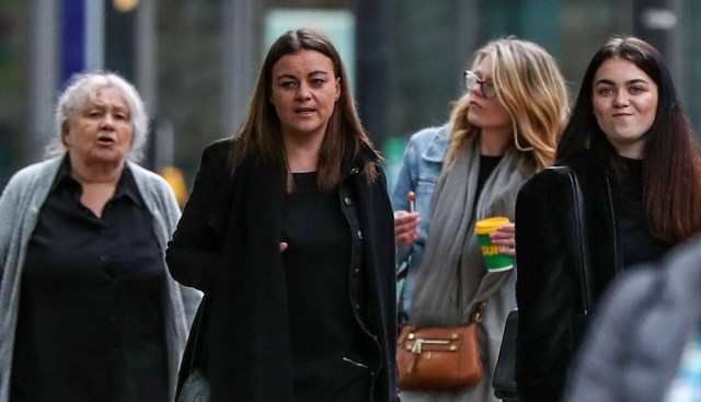 Christina Pomfrey walks to court with daughter Aimee Brown (centre), who received a suspended jail term for money laundering