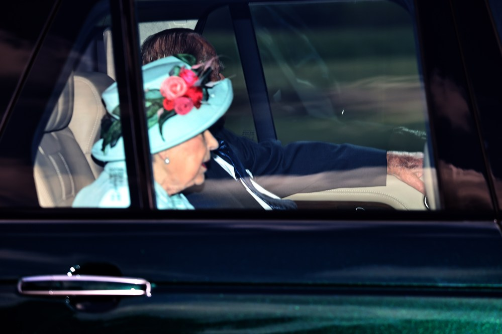 The Queen was driven with Prince Philip along the Long Walk to the wedding today