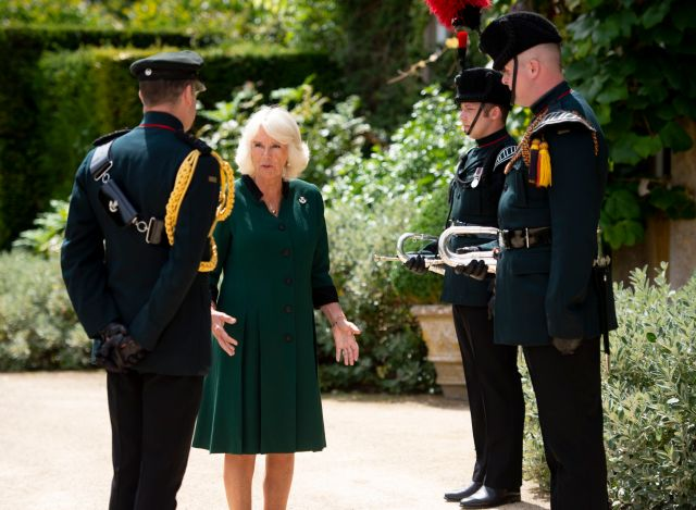 Camilla wore a green dress for the ceremony