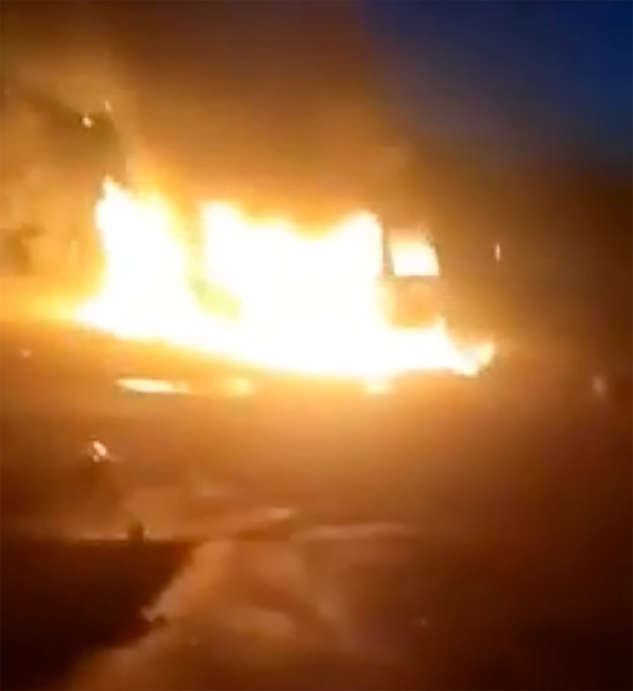 Cars were set on fire during the mess