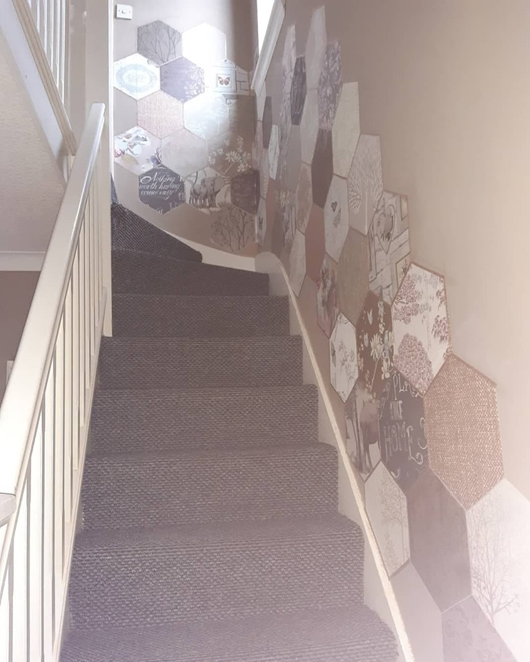 Couple Transform Their Staircase For 4 Using Wallpaper Samples After Getting Sick Of Kids Fingerprints On The Paint