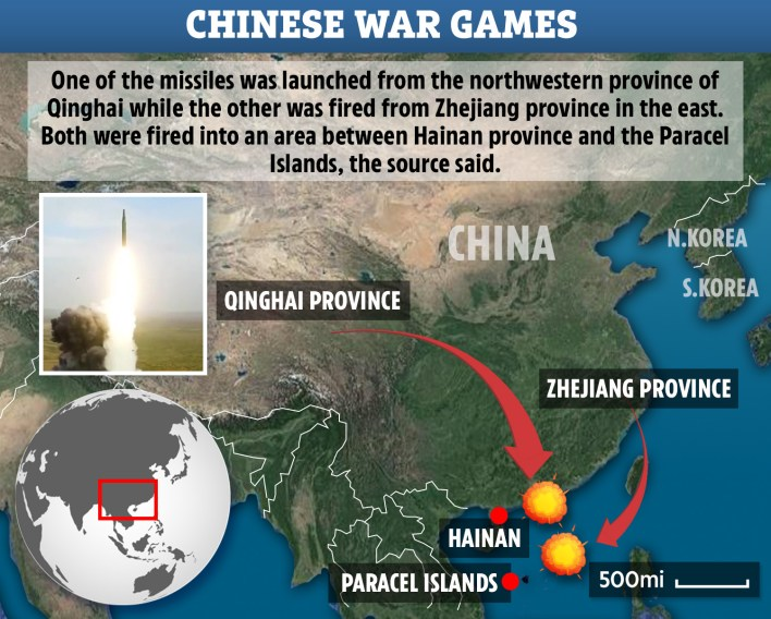 China launch ballistic missiles into South China Sea in 'warning to US' after 'unprecedented' war games near Taiwan