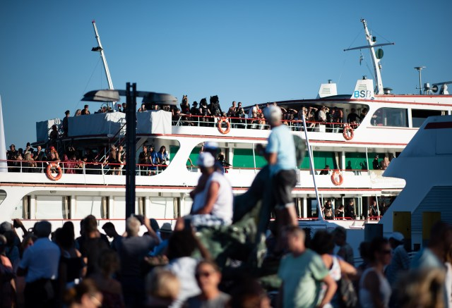 Last year hundreds of people gathered to watch the leather-clad passengers board the ship