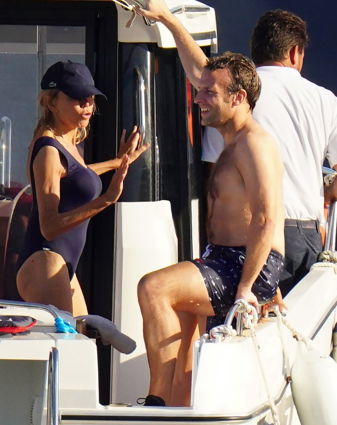 Emmanuel Macron with his wife Brigitte and the rest of their family near the island of Porquerolles
