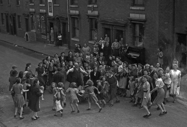 VJ Day was jubilantly celebrated at home on August 15 1945, including in Birmingham, above, three months after VE Day