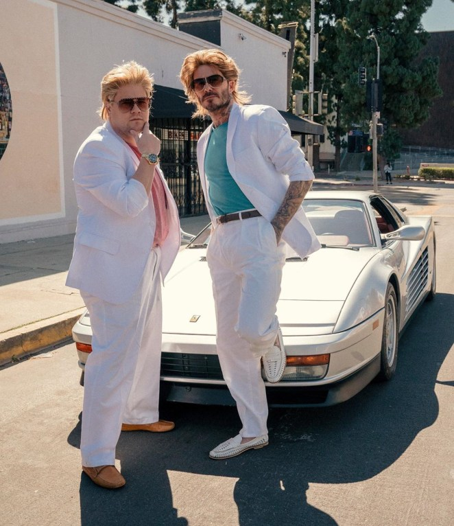 David Beckham and James Corden dressed in Miami Vice-style suits for The Late Late Show