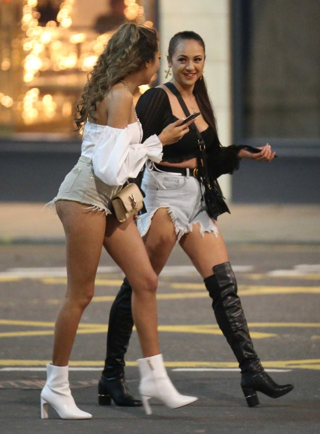 Girls braved the chilly weather in shorts and heels