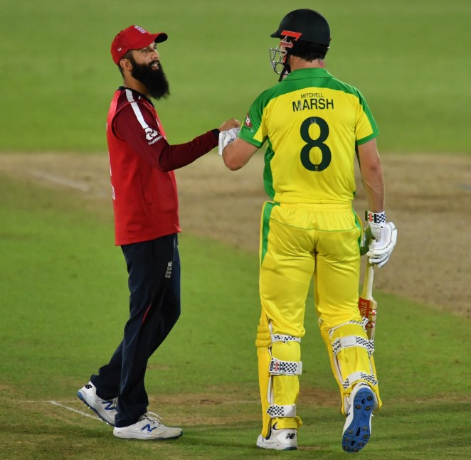 Key Aussie batsman Mitch Marsh is congratulated on victory by stand-in England skipper Moeen Ali