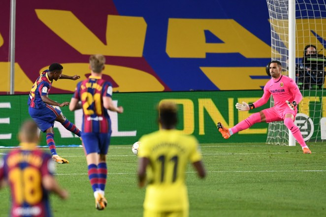 Ansu Fati scores his second of the evening capping off a wonderful counter attack with a low finish past Asenjo