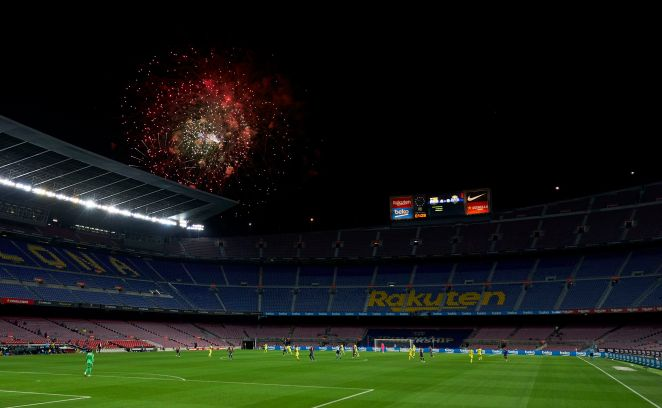 The sky lit up over the Nou Camp as Barca thrashed Villarreal