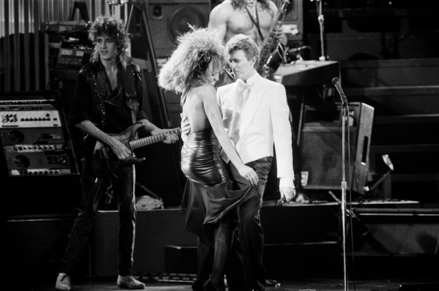 David Bowie and Tina Turner on stage together at the Birmingham NEC
