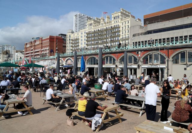 Groups gathered in Brighton earlier in the day to make the most of the sunshine