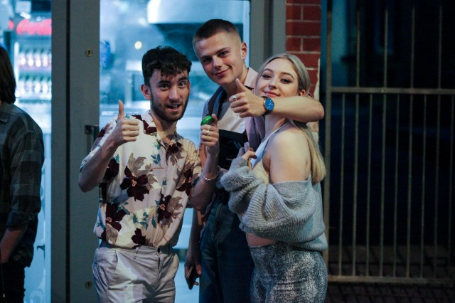 A group of friends were out in Nottingham where long queues were seen outside of bars