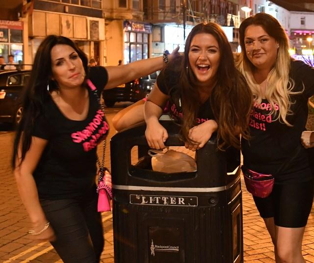 Friends in Blackpool enjoy a drink on Saturday night