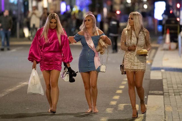 Others shed their shoes after hours on the town