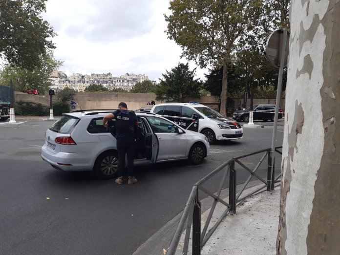 Armed police at the scene in Paris today