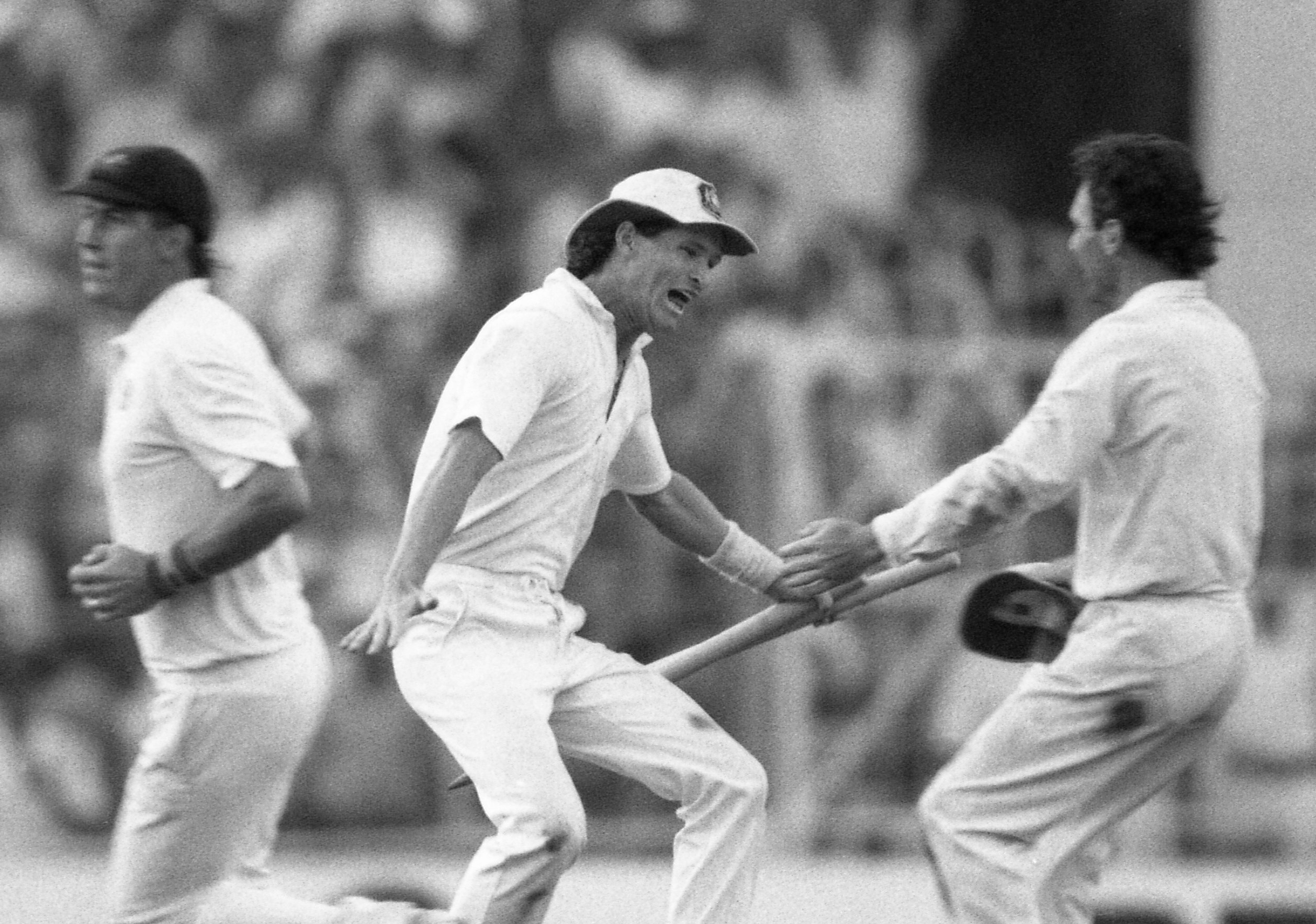 Jones, middle, has died aged 59 after making a name for himself as a successful batsman and outfielder for Australia