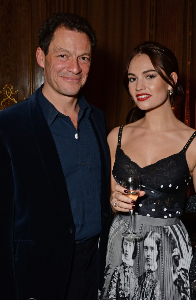 Dominic, seen here with Lily James at an awards show in London in 2018