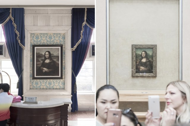 The fake Mona Lisa in China and the real version in Paris on the right