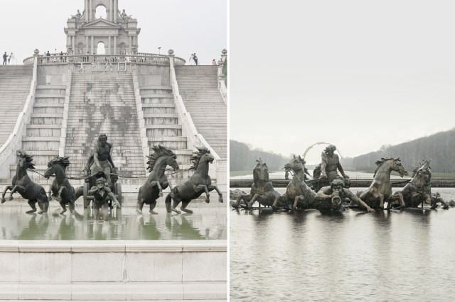 The replica of the Bassin d'Apollon in China on the left and the real version on the right