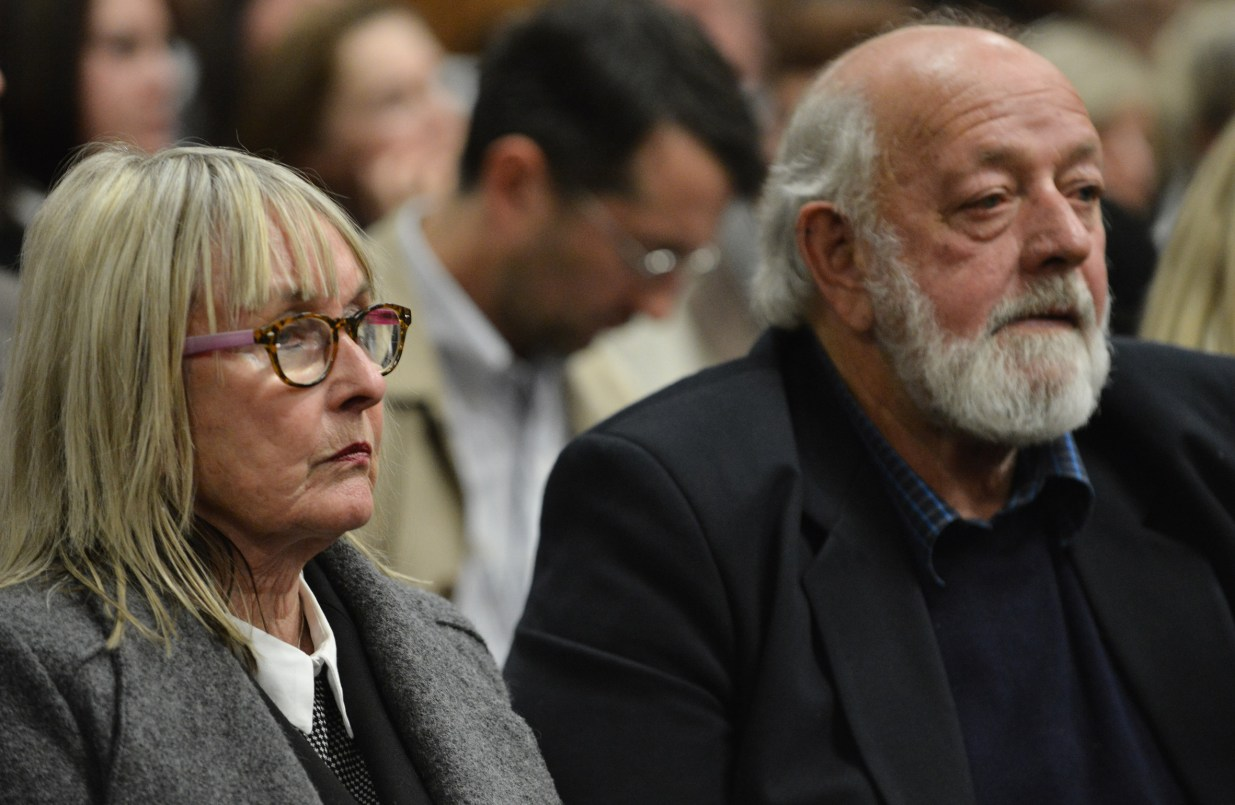 Parents of murdered Reeva Steenkamp in the court room during Pistorius' sentencing hearing in 2016