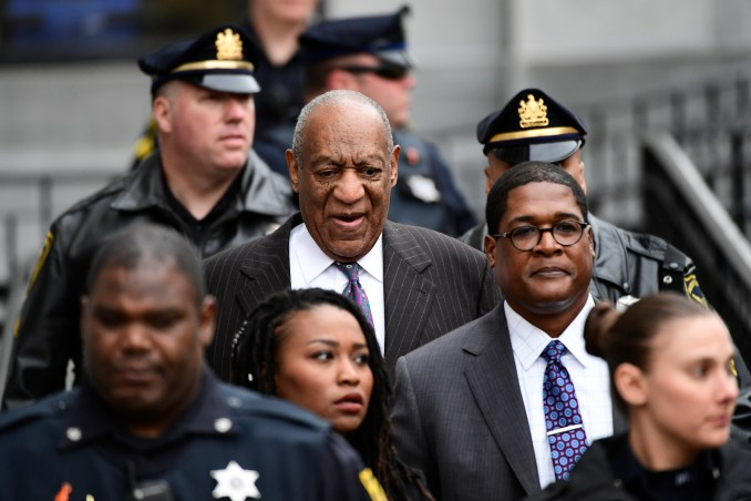 Bill Cosby leaves his sexual assault trial in Norristown, Pennsylvania, in 2018