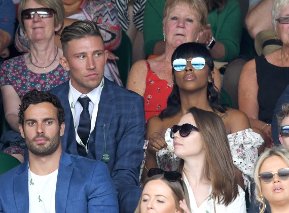 Rotherham footballer Angus MacDonald with ex Alexandra Burke at Wimbledon