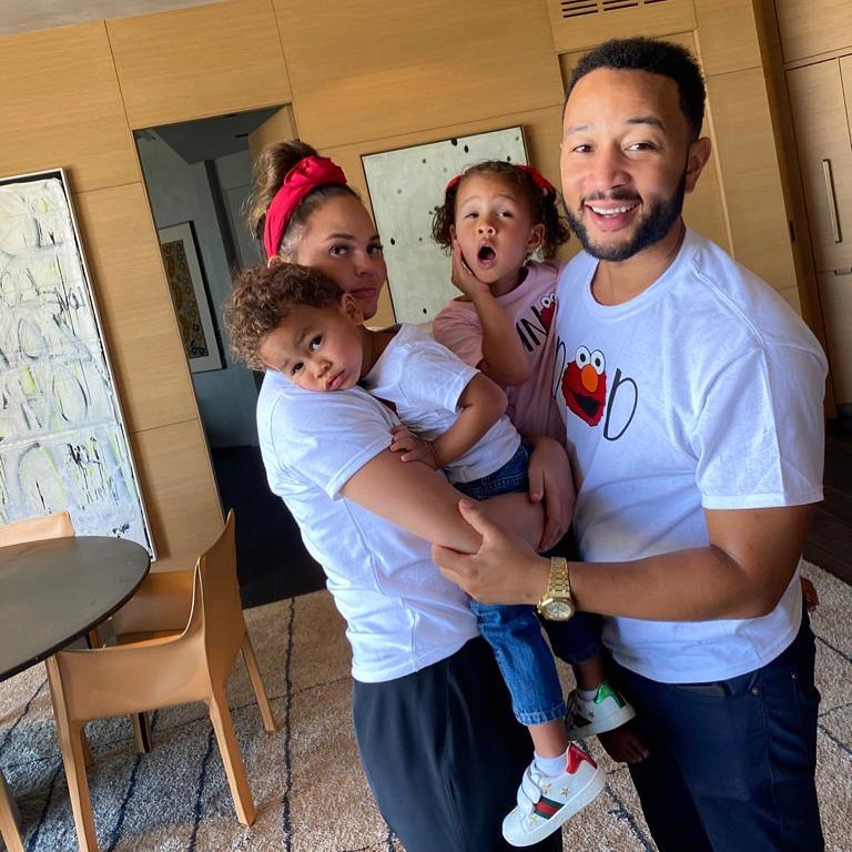 Chrissy Teigen and John Legend with their two children