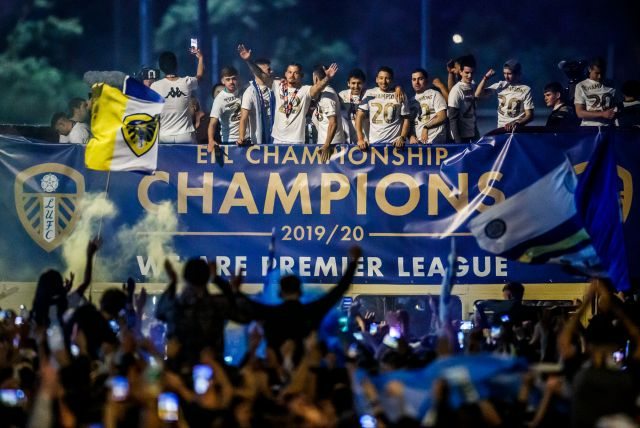 Leeds players celebrated promotion to the Premier League in front of their fans - despite the country being in lockdown