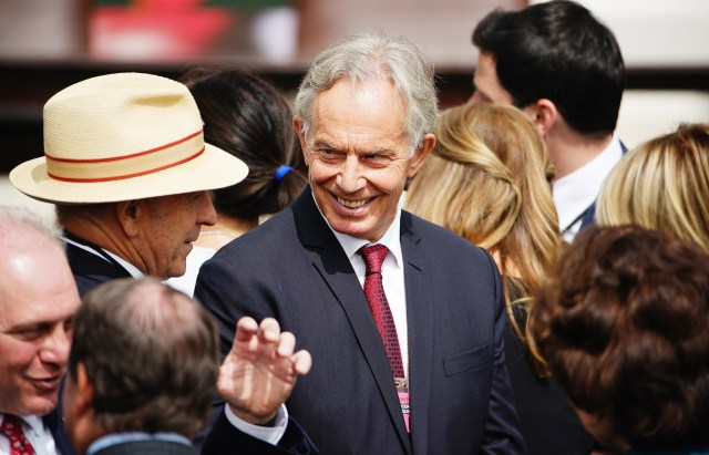 Mr Blair was attending an event in Washington DC in September before flying back to the US