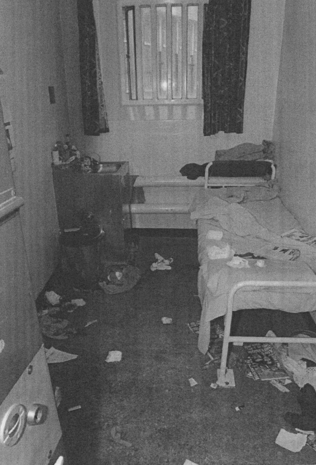 The scene where Whiting was attacked at his HMP Wakefield cell