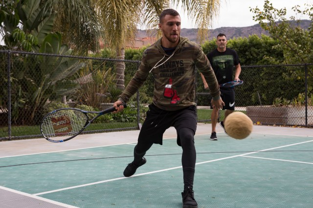 Boxer Lomachenko also plays a version of tennis with a heavy ball