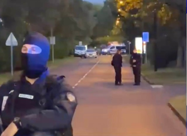 Local TV footage shows French police officers at the scene