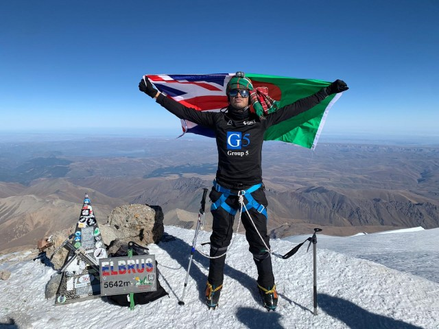 Akke Rahman, from Oldham, climbed Mount Elbrus last week after beating Covid-19