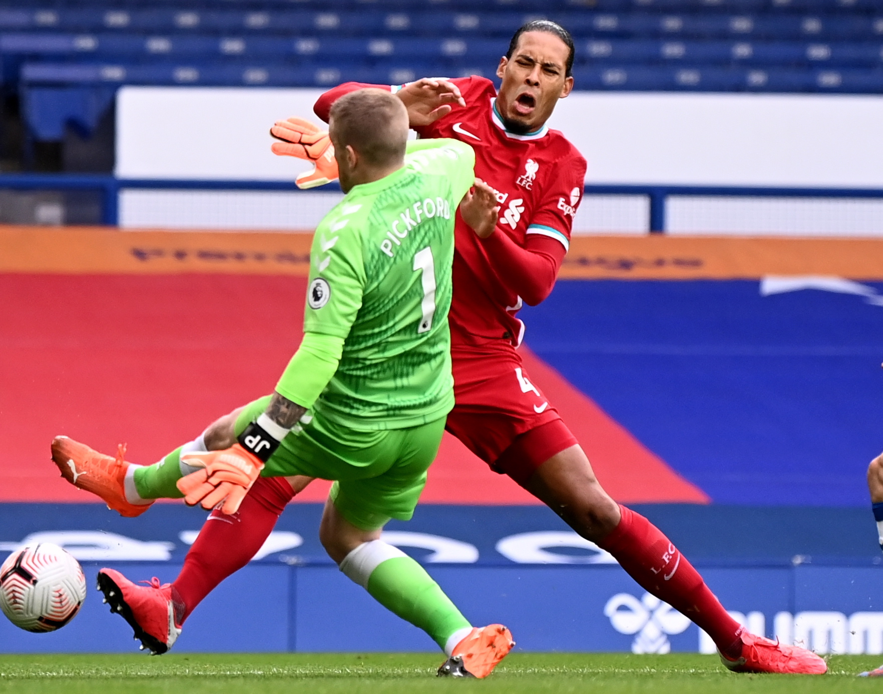 Jordan Pickford 'could still get three-match ban for Van Dijk challenge' as Liverpool star faces missing rest of season