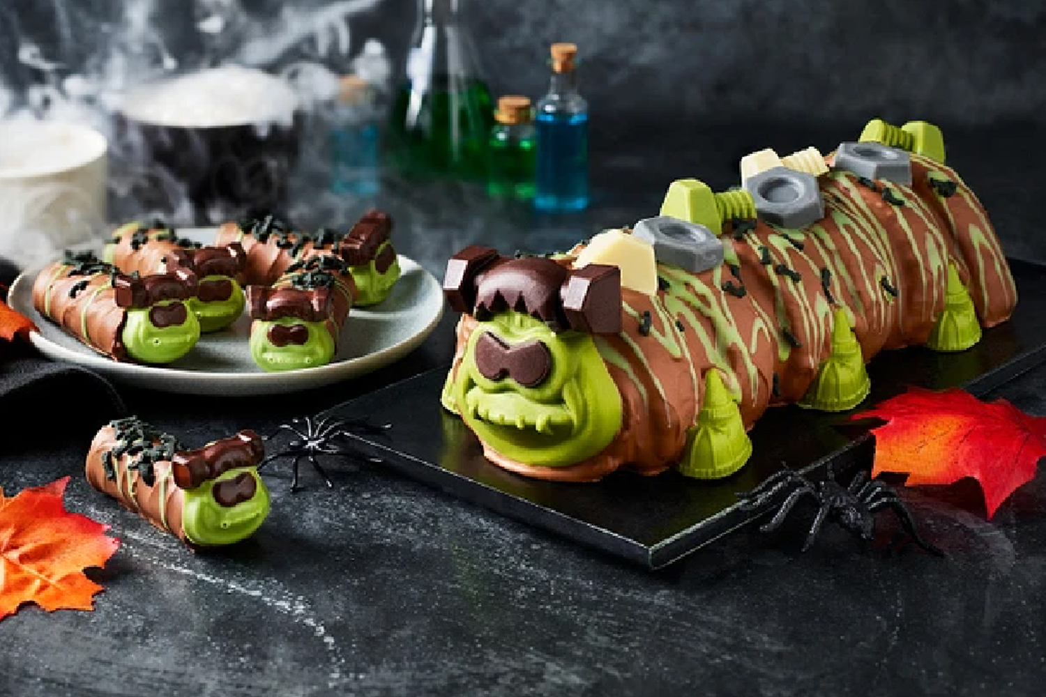 You can now buy a Frankencolin the caterpillar cake to celebrate Halloween & there are also mini versions