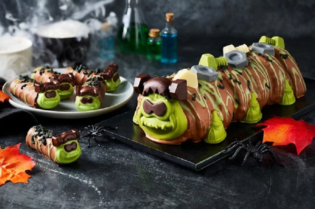 You can now buy a Frankencolin the caterpillar cake from M&S and he looks perfect for Halloween
