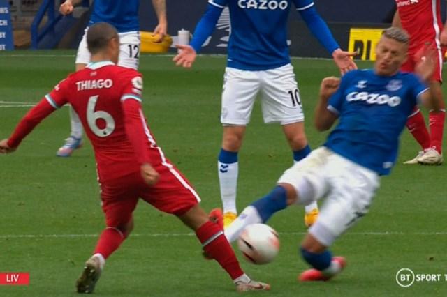 Richarlison was dismissed for a horror foul on Thiago Alcantara