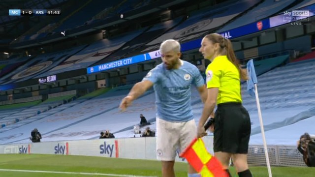 Sergio Aguero was arguing a throw in decision given to Arsenal