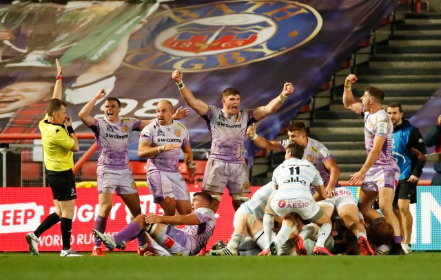 Chiefs celebrate a crucial call against Racing 92