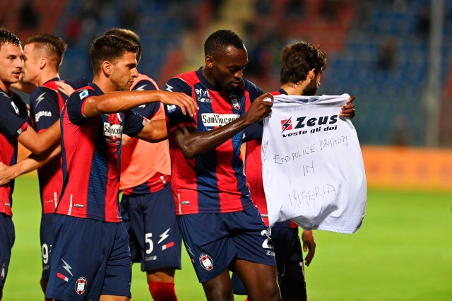 Crotone celebrate during their shock draw