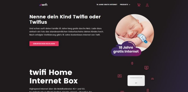 The offer is still open on the Twifi.ch website for other new parents