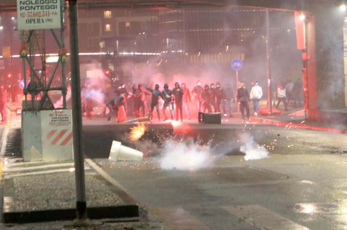 Protesters clash with police in Milan during violent protests